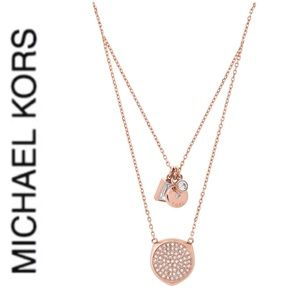 NWT authentic MK rose gold tone charm necklace
